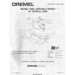 """Dremel 1680, Variable Speed 16"""" Scroll Saw Owner's Manual 2000"""