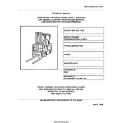 Drexel SL-44-3-ESS-EE, MHE 256 Forklift TM 10-3930-652-14&P Operator's & Maintenance Manual 1984
