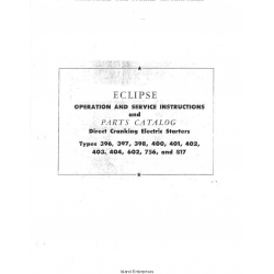 Eclipse Electric Starters Types 396 thru 817 Operation & Service Instructions and Parts Catalog