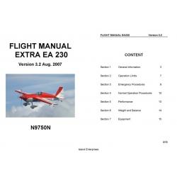 Extra EA 230 N9750N Flight Manual/POH $4.95
