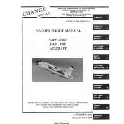 Vought F-8D & F-8E Crusader Navy Model Aircraft Natops Flight Manual/POH $5.95