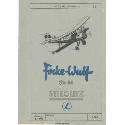 Focke Wulf FW-44 Stieglitz Flight Manual/POH 1944 - 1968 $4.95