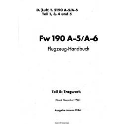 Focke-Wulf Fw 190 A-5/A-6 Teil 1,3,4 und 5 Flugzeug-Handbuch $4.95