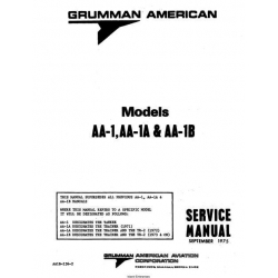 Grumman American AA-1, AA-1A & AA-1B Service Manual 1975 $29.95