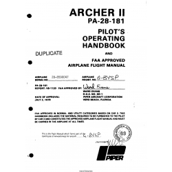 Piper Archer II PA-28-181 Pilot's Operating Handbook and Flight Manual 1979  $13.95
