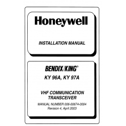 Bendix King  KY 96A, KY 97A Installation Manual 006-00674-0004 v2003 $19.95