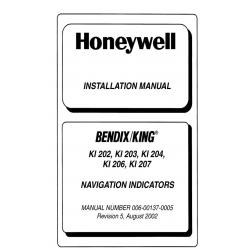 Bendix King KI 202,KI203,KI 204, KI 206, KI 207 Installation Manual 006-00137-0005 v2002 $19.95