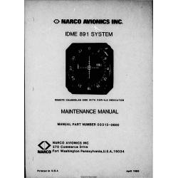 Narco Avionics IDME-891 IDME 891System Maintenance Manual 03315-0600 $29.95