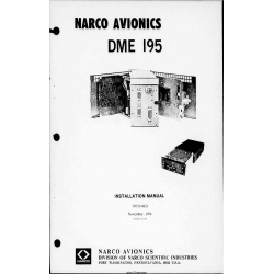 Narco Avionics DME-195 DME 195 Distance Measuring Equipment Installation Manual 03313-0621 $19.95