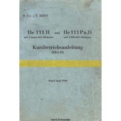 Heinkel He 111H und He 111Pu.D Kurzbetriebsanleitung $4.95