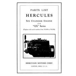 Hercules QX Series Six Cylinder Engine Parts List