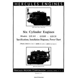 Hercules QXA5, QXB5, QXC5 Six Cylinder Engines Specifications, Installation Diagram & Power Chart