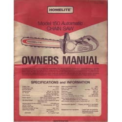 Homelite 150 Automatic Chain Saw Owners Manual