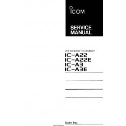 ICOM IC-A22,A22E,A3 VHF Air Band Transceiver Service Manual $13.95