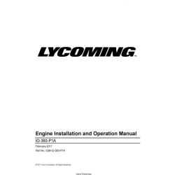 Lycoming IO-360-P1A Engine Installation and Operation Manual IOM-IO-360-P1A $29.95