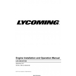 Lycoming LIO-360-B1G6 Engine Installation and Operation Manual IOM-LIO-360-B1G6 $29.95