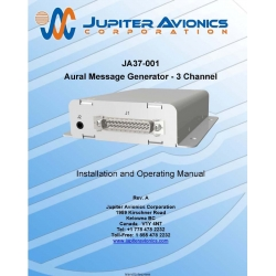 Jupiter Avionics JA37-001 Aural Message Generator-3 Channel  Installation and Operating Manual