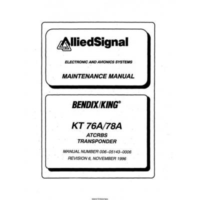 bendix king kt 76a 78a atcrbs transponder maintenance and rh aero stuff com king kt-76a transponder installation manual King Transponder KT 76C