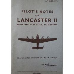 Avro Lancaster II Four Hercules VI or XVI Engines Pilot's Notes