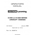 Lycoming Textron Operator's Manual $13.95