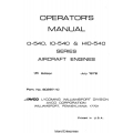 Lycoming O-540, IO-540 & HIO-540 Series Operator's Manual 1976 Part # 60297-10 $13.95