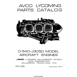 Lycoming O-540-J3C5D Aircraft Engines Parts Catalog PC-415 1977 $13.95