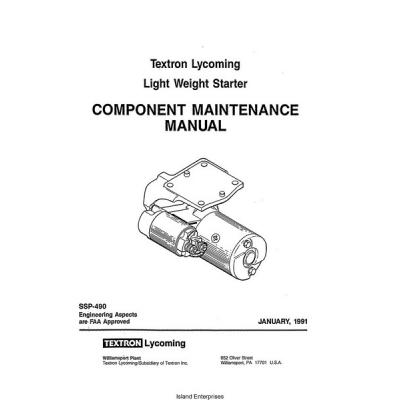 lycoming ssp 490 light weight starter component maintenance manual rh aero stuff com component maintenance manual cmm component maintenance manual 26-12-38