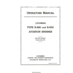 Lycoming Type R-680 and R-530 Aviation Engines Operators Manual $13.95
