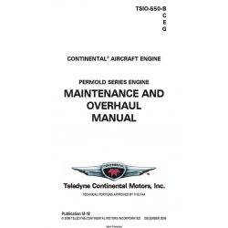 Continental TSIO-550-B,C,E,G Permold Series Engine MaintenaNCE and Overhaul Manual M-18 $29.95