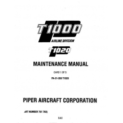 Piper Chieftain Maintenance Manual PA-31-350 T1020 $13.95 Part # 761-768