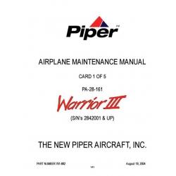 Piper Warrior III Maintenance Manual PA-28-161 $13.95 Part # 761-882_2004