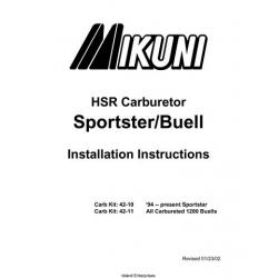 Mikuni Sportster/Buell Motorcycles HSR Series Carburetor Installation Instructions 2002 $4.95