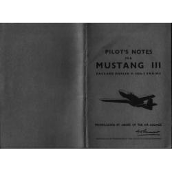 Mustang III Packard Merlin V-1650-3 Engine Pilot's Note