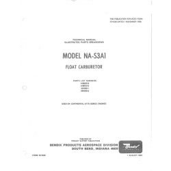 Continental  NA-S3A1 Technical Manual Illustrated Parts Breakdown Float Carburetor $2.95