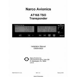 Narco AT165 TSO Transponder 03609-0620 Installation Manual 2004 03609-0620