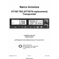Narco AT165 TSO Transponder Installation Manual 03609-0620K1 2006 03609-0620K1