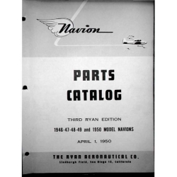 Navion Model 1946-47-48-49 & 1950 Third Ryan Edition Parts Catalog $13.95