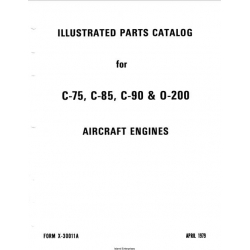 Continental C-75, C-85, C-90 & 0-200 1979 Illustrated Parts Catalog FORM X-30011A $9.95