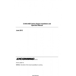 Lycoming O-540-A4E5 Series Engine Installation and Operation Manual 60297-43 $13.95