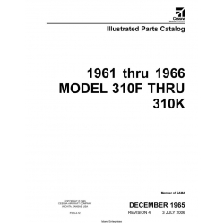 Cessna Model 310F thru 310k Illustrated Parts Catalog (1961 thru 1966) P329-4-12 $29.95