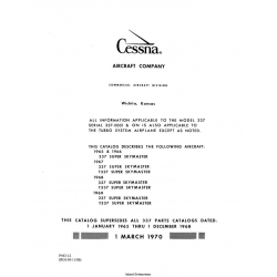 Cessna Model 337 Series Parts Catalog P443-12 1965-1969 $29.95