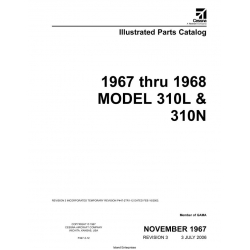 Cessna Model 310L & 310N Illustrated Parts Catalog (1967 Thru 1968) P447-3-12 $29.95