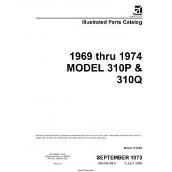Cessna Model 310P & 310Q Illustrated Parts Catalog (1969 Thru 1974) P497-4-12 $29.95