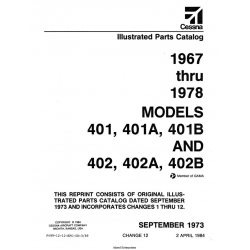 Cessna Models 401, 401A, 401B, and 402, 402A, 402B Parts Catalog (1967 Thru 1978) P499-12-12