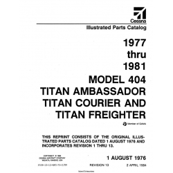 Cessna Model 404 Titan Illustrated Parts Catalog (1977 Thru 1981) P559-13-12 $29.95