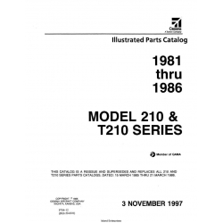 Cessna 210 & T210 Series (1981 THRU  1986) Illustrated Parts Catalog P704-12 $29.95