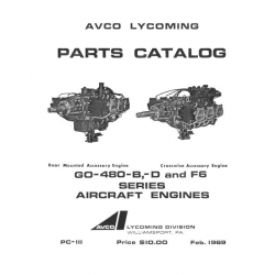 Lycoming Parts Catalog PC-111 GO-480-B, -D & F6 Series $13.95