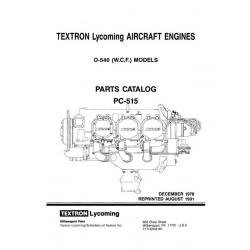 Lycoming Parts Catalog PC-515-1 O-540 (W.C.F.) $13.95