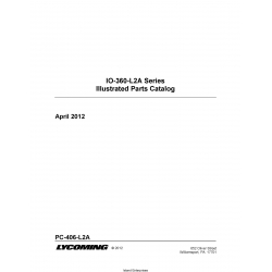 Lycoming IO-360-L2A Series Illustrated Parts Catalog PC-406-L2A $19.95