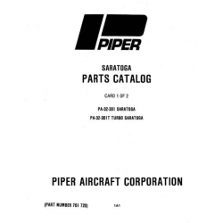 Piper Saratoga & Turbo Saratoga Parts Catalog PA-32-301/301T $13.95 Part # 761-720